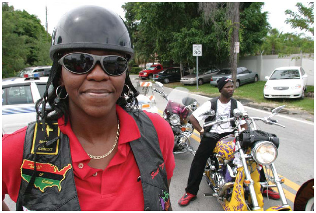 In Coconut Grove, Florida, Bahamian American motorcycle club members.