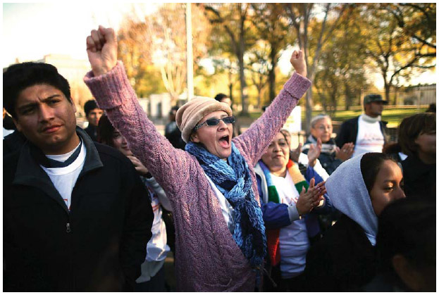 A woman originally from Colombia chants during a rally on immigration reform in Washington, D.C. Immigrant rights organizations are advocating for comprehensive immigration reform.