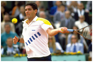 Ecuadorian American Andres Gomez plays during the French Open in Paris.