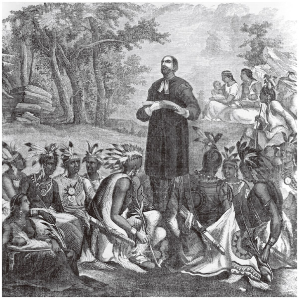 """English Presbyterian missionary John Eliot addresses a gathering of Algonquins in 1660. Known as """"the Apostle of the Indians,"""" Eliot established the first church for Native Americans in Massachusetts."""