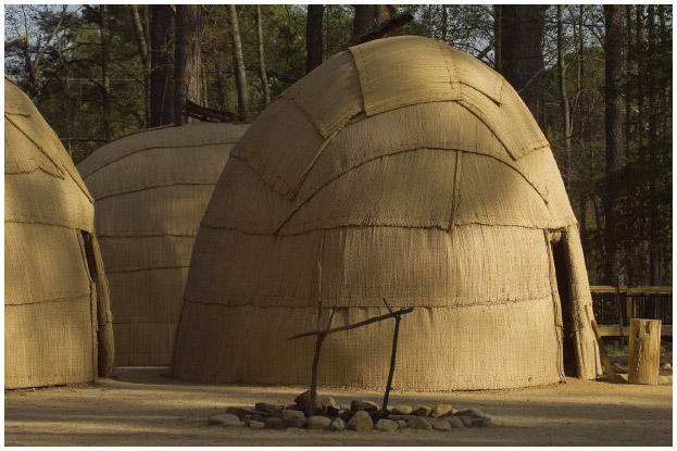 In Jamestown, Virginia, replicas of Powhatan Native American houses from the 17th century.