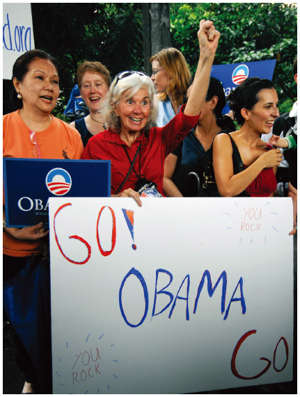 Filipino Americans and other U.S. citizens in Manilla show their support for Barack Obama's presidential bid, 2008.