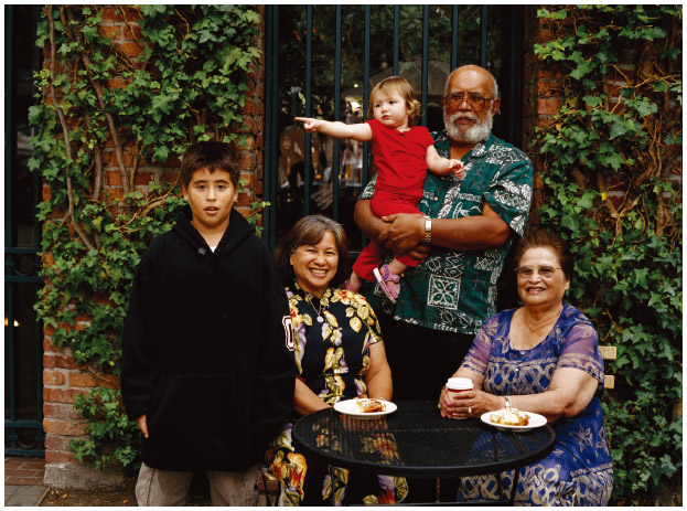 A Guamanian American family gathers in a courtyard.