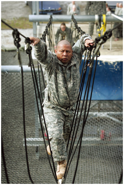 A Guamanian American during basic training for the United States Army at Fort Jackson in 2007.