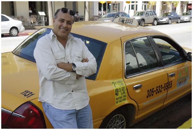 An Iranian American taxi cab driver in Miami Beach, Florida.