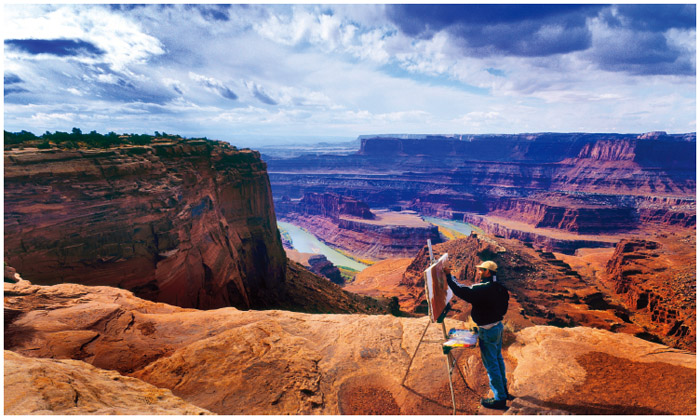 Israeli American painter Uri Blayer shown here in Deadhorse Canyon at the Deadhorse Point State Park in Utah.
