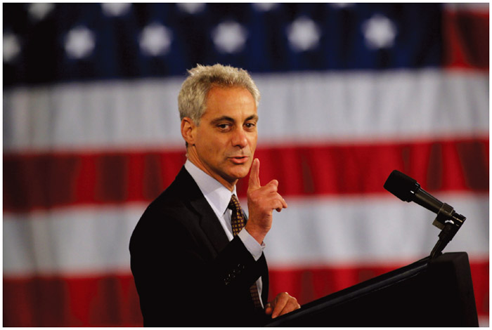 Former Chief of Staff during President Obama's first term and Mayor of Chicago Rahm Emanuel (1959–) speaks at an Obama campaign fundraiser at Chicago's Navy Pier, 2011.