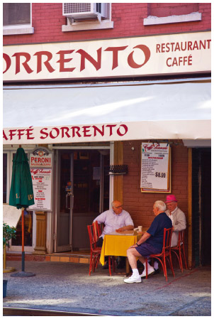 Italian Americans at Sorrento Caffe in Little Italy in Manhattan.