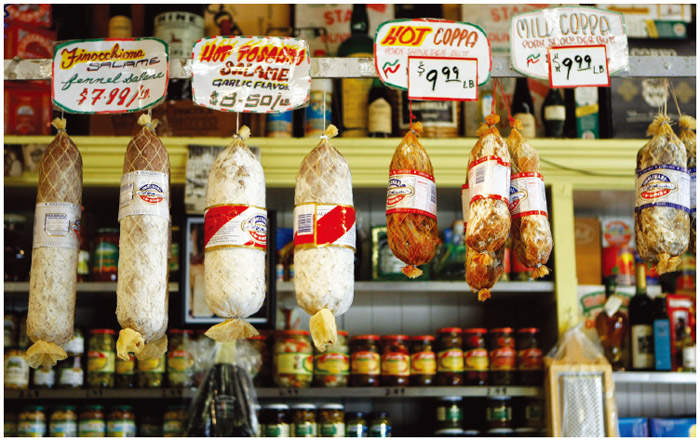 One of the classic Italian neighborhoods in the U.S. is San Francisco's North Beach. In this picture, the wares at a Salumeria are on display.