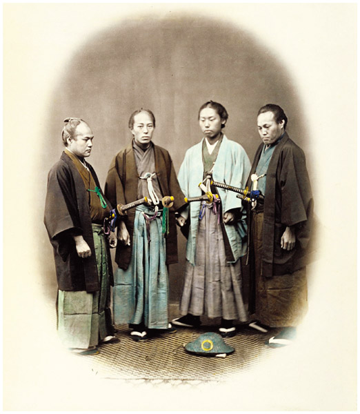 Male Japanese immigrants wearing samurai garb.