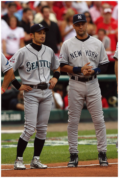 Japanese American Iciro Suzuki of the Seattle Mariners with Derek Jeter of the New York Yankees. Both American League All-Stars look on during introductions before the 2009 MLB All-Star Game at Busch Stadium in 2009 in St. Louis, Missouri.