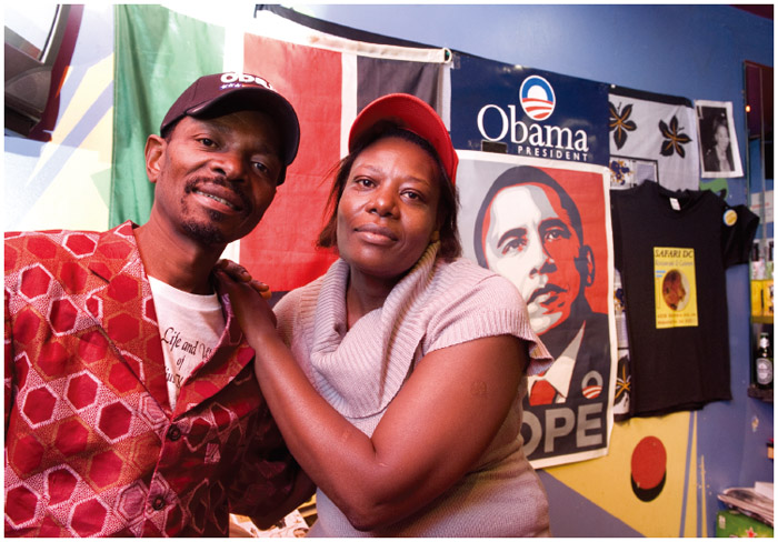 Kenyan Americans William and Alice Mukabane are owners of the restaurant Safari DC in Washington, D.C.