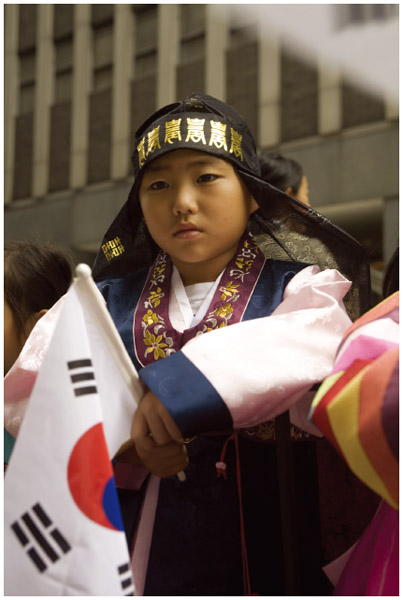 A boy performs in the Korean Day parade in New York City.