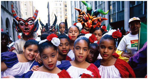 Young girls in a Cinco de Mayo parade, c. 1997, New York.