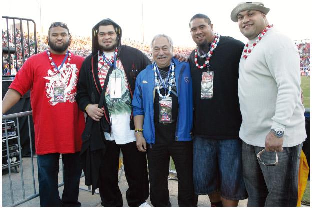 Pacific Islander Americans Sione Pouha, New York Jets; Chris Kemoeatu, Pittsburgh Steelers; Faleomavaega Eni Hunkin, American Samoa Congressman; Paul Soliai, Miami Dolphins; Maake Kemoeatu, Washington Redskins at a public appearance for the 2011 USA