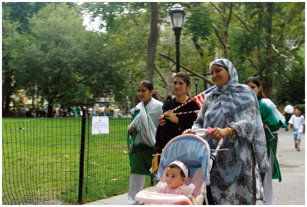 Pakistani Americans gather in Madison Square Park in NYC to celebrate India's and Pakistan's independence from the British Empire.