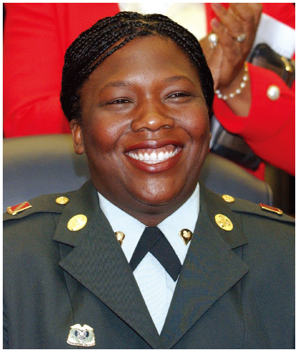 U.S. Army Specialist and Panamanian American Shoshana Johnson became the first female black American prisoner of war when she was taken prisoner during the war with Iraq. She was found by U.S. troops after the fall of Baghdad. Here she is being