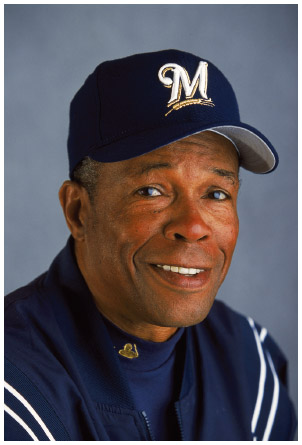 Panamanian American Rod Carew of the Milwaukee Brewers during Spring Training at Maryvale Baseball Park in Phoenix, Arizona, 2001.