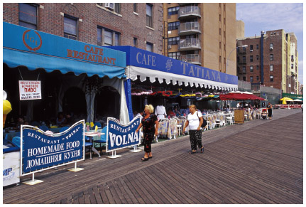 A boardwalk in Brighton Beach, a Russian enclave in Brooklyn, New York City.