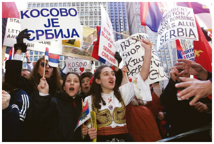 Supporters of Serbia demonstrate against the U.S. bombing of Kosovo. 1999.