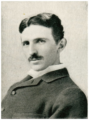 Etching of Nikola Tesla (1856–1943), naturalized American physicist and electrical engineer, who was born in Croatia to Serbian parents. Tesla was the inventor of polyphase electrical power systems and the AC induction motor.