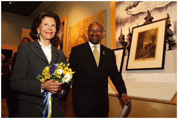 Queen Silvia Gustaf of Sweden and Philadelphia Mayor Michael Nutter visit the American Swedish Historical Museum in Philadelphia, Pennsylvania, for the 375th anniversary of the founding of New Sweden.