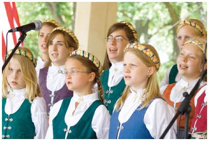 Swedish American girls perform at the annual Svenskarnas Dag in Minneapolis, Minnesota.