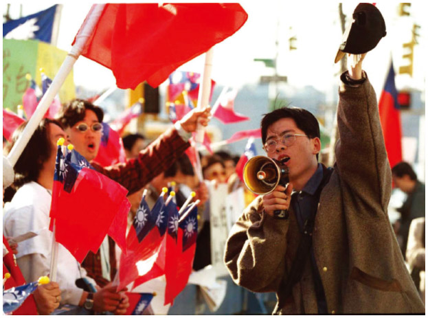 Taiwanese Americans in New York City protest against Chinese aggression towards Taiwan.