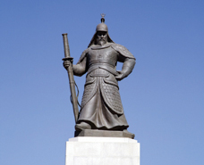 A statue of Admiral Yi Sun-shin, who led Korea's successful naval defenses against Japanese invaders in the 1590s, stands in Seoul, South Korea.