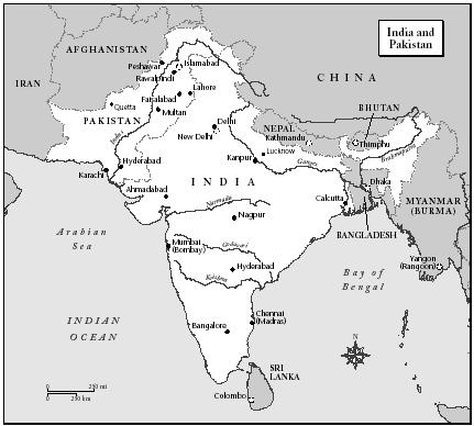 MAP OF INDIA AND PAKISTAN. (XNR Productions Inc.)