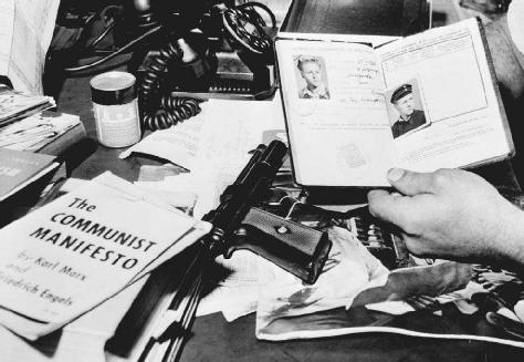 The Communist Manifesto and other items captured by police when they arrested a striking electrical plant worker in 1954.
