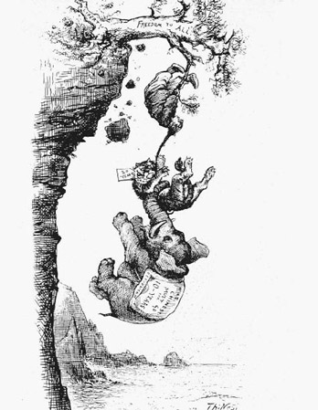 "An editorial cartoon about the Chinese Exclusion Act of 1882. Supporters of the bill are shown in stylized form trying to pull a stereotyped Chinese man off of a branch labelled ""Freedom to All."" The tiger represents the Democrat's Tammany ""Tigers"" political machine. The elephant is a traditional symbol of the Republican Party."