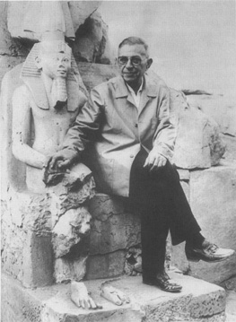 French philosopher Jean-Paul Sartre in Luxor, 1967