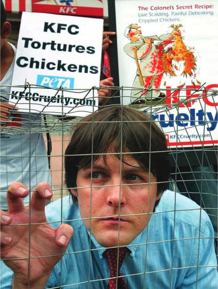 People for the Ethical Treatment of Animals (PETA) is one of the worlds largest animal rights groups. Here, a PETA activist protests the treatment of chickens by the KFC food chain.