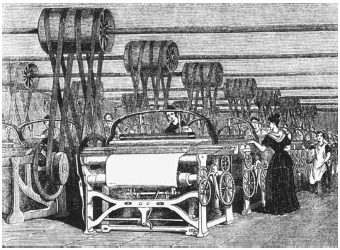 Women operating power looms during the Industrial Revolution in 1844. As machines replaced skilled laborers, the new urban economy thrived on the toils of inexpensive workers including women and children. HULTON ARCHIVEGETTY IMAGES. REPRODUCED