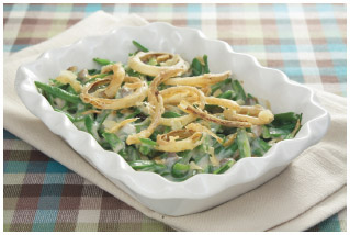 Green bean casserole is usually topped with french-fried onions.