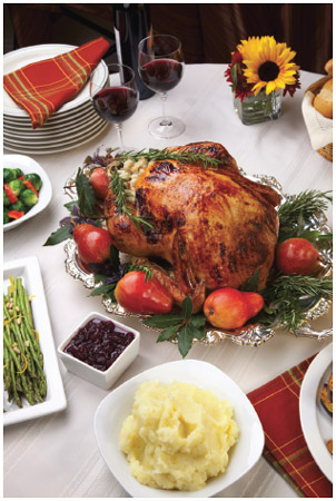 The celebration of Thanksgiving brings many families together for the holiday. The typical Thanksgiving meal includes turkey, stuffing, mashed potatoes and gravy, cranberries, various additional vegetables, and pie (often pumpkin).