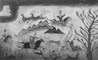 A hunting scene of Koguryo warriors that appears on the eastern wall of the Muyong Tomb located in Tung-gu, Manchuria