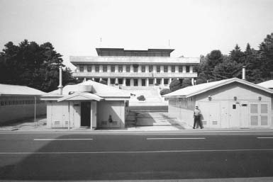 The Joint Security Area in the Demilitarized Zone. The buildings in the foreground are where armistice negotiations took place at the end