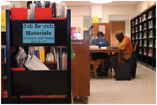 Libraries like this one in Brooklyn, New York, make job information available to their patrons for free. Some offer career counseling services and workshops as well.