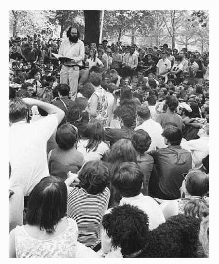 Allen Ginsberg reads poetry in Washington Square Park in New York City
