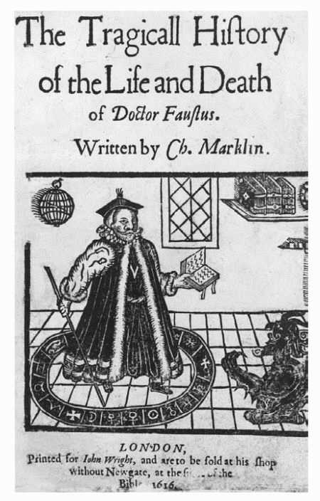 Cover of the 1616 edition of The Tragicall History of the Life and Death of Doctor Faustus by Christopher Marlowe