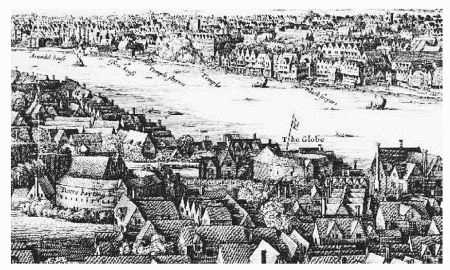 1647 illustration of Greater London showing the location of the Globe Theatre