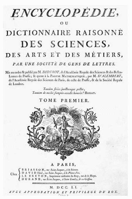 Title page of Encyclopdie by Denis Diderot