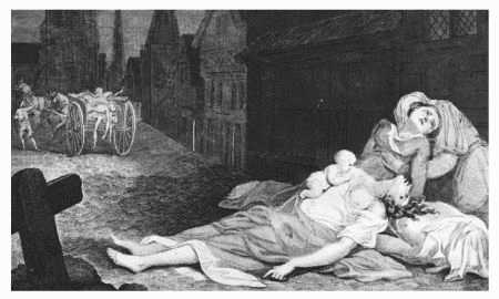 Depiction of London during the Great Plague, which struck in the year 1665