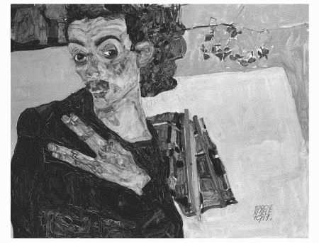 Egon Schieles expressionist style Self-Portrait with Black Clay Vase and Spread Fingers