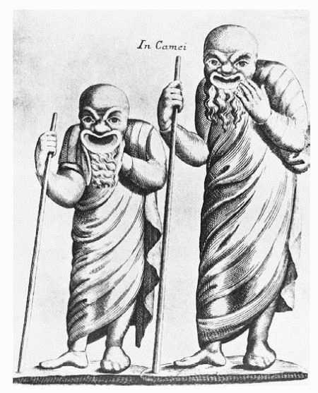 1736 copper engraving of Greek actors wearing masks