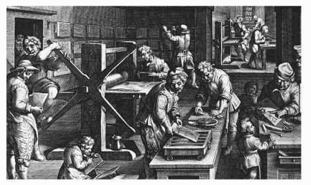 Illustration of a sixteenth-century print shop