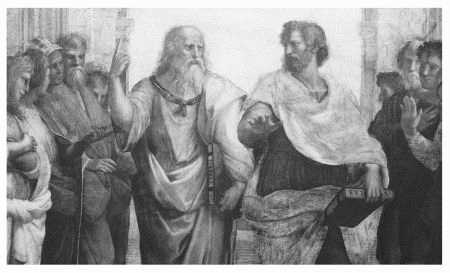 Detail of Raphaels The School of Athens showing Plato, Aristotle, and other classical and Renaissance figures