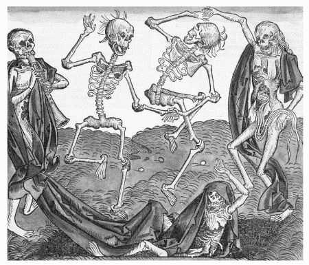 Woodcut print of Danse Macabre